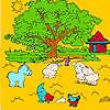 игра Большая ферма дерево и животные раскраски