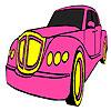 игра Классический розовый автомобиль раскраски