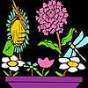 игра Стрекозы на цветы раскраски