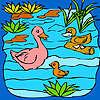 игра Смешные утки семьи в озеро окраску