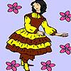 игра Девушка, подбирая цветы раскраски