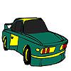 игра Зеленые быстрый автомобиль раскраски