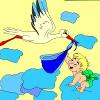 игра Дети раскраски аист и малыш