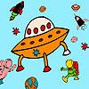 игра Meteorite and astronauts coloring