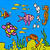 игра Sea turtle and fishes coloring