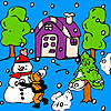 игра Snowball in the garden coloring