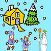 игра Snow and children coloring