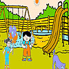 игра Two friends in the park coloring