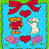 игра Valentines day animals in frame coloring