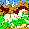 игра White doves and horse coloring